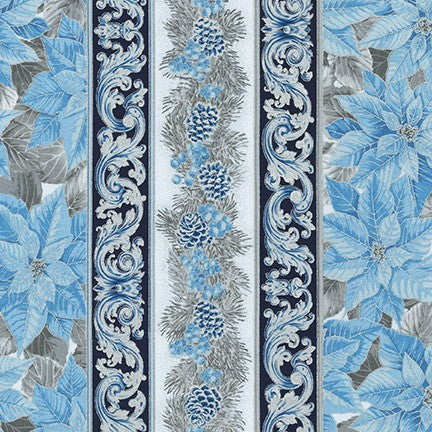 Holiday Flourish - Blue Border Panel