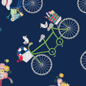 Vintage Boardwalk - Bicycles Navy Blue