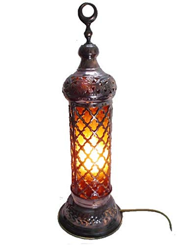 BR53 Cast Brass Handmade Net Table Lamp with Amber Glass Shade
