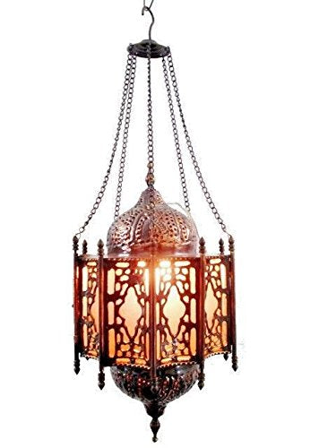 BR143 Arabian/Islamic Curved Frosted Glass Brass Hanging Lamp/Lantern