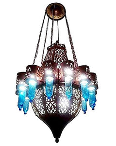 BZ12 Antique Moroccan Style Large Huge Pendant LED Chandelier Mouth-Blown Glass