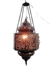 Load image into Gallery viewer, BR195 Vintage Reproduction Islamic Hand-Drilled Hand-Engraved Hanging Lantern