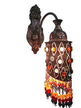 Load image into Gallery viewer, BR273 Antique Moroccan Style Jeweled Color Beads Arm Wall Sconce