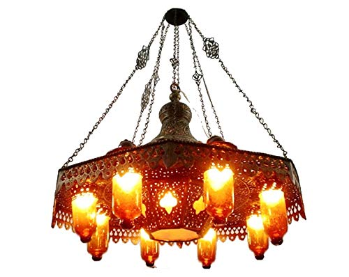 BR125 Old Arabian/Islamic Style Pendant Chandelier Amber Glass Shades