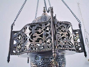 BR102 Unique Pendant Moroccan Art Swag Metal/Brass Lamp