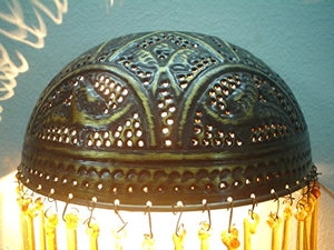 BR284 Handcrafted Brass Quarter Ball Sconce Washer Lamp With Mouth Blown Tears