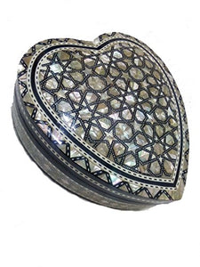 J32 Gorgeous Mother of Pearl Mosaic Trinket Egyptian Heart Gift Jewelry Box