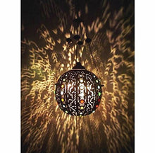 Load image into Gallery viewer, BR258 Vintage Handmade Jeweled Moroccan Large Brass Ball Hanging Lamp/Light