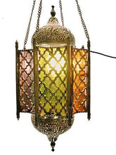 Load image into Gallery viewer, BR65 Antique Reproduction Military Arabian Style Cast Brass Pendant Net Lamp / Lantern