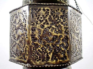 BR195 Vintage Reproduction Islamic Hand-Drilled Hand-Engraved Hanging Lantern