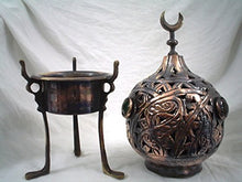Load image into Gallery viewer, BR31 Islamic/Egyptian Handmade Brass Jeweled Tripod Incense Burner