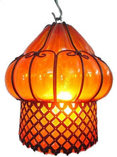 Load image into Gallery viewer, B67-AM Mouth-Blown Glass Wrought Iron Amber Pendant Lampshade