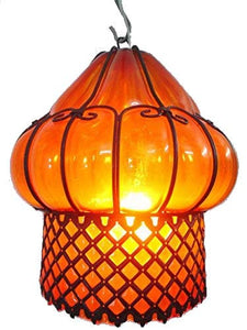 B67-AM Mouth-Blown Glass Wrought Iron Amber Pendant Lampshade