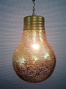 B125 New Contemporary Shiny Brass Filigrain Bulb Pendant Hanging Lamp