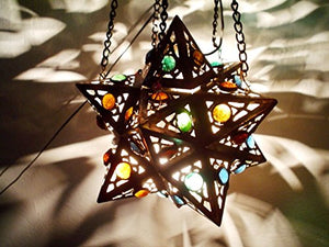 BR55 Egyptian Wall Decor/Mount Hanging Star Brass Lamp with Decorative Bracket