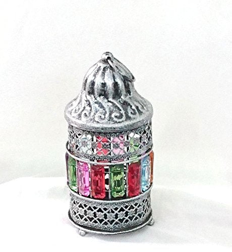 AA82 Egyptian Ramadan Lantern Silver Colored Candle Holder Table Lamp