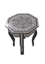 Load image into Gallery viewer, W87 Mother of Pearl Moroccan Corner Wood Octagonal Table Black End Coffee