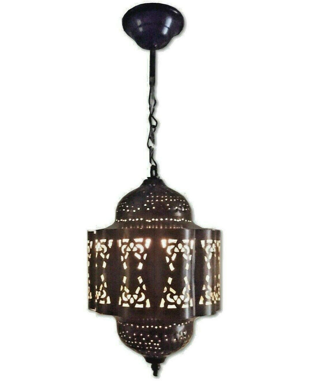 BR441 Moroccan/Egyptian Vintage Reproduction Tin Hanging LED Lamp/Lantern