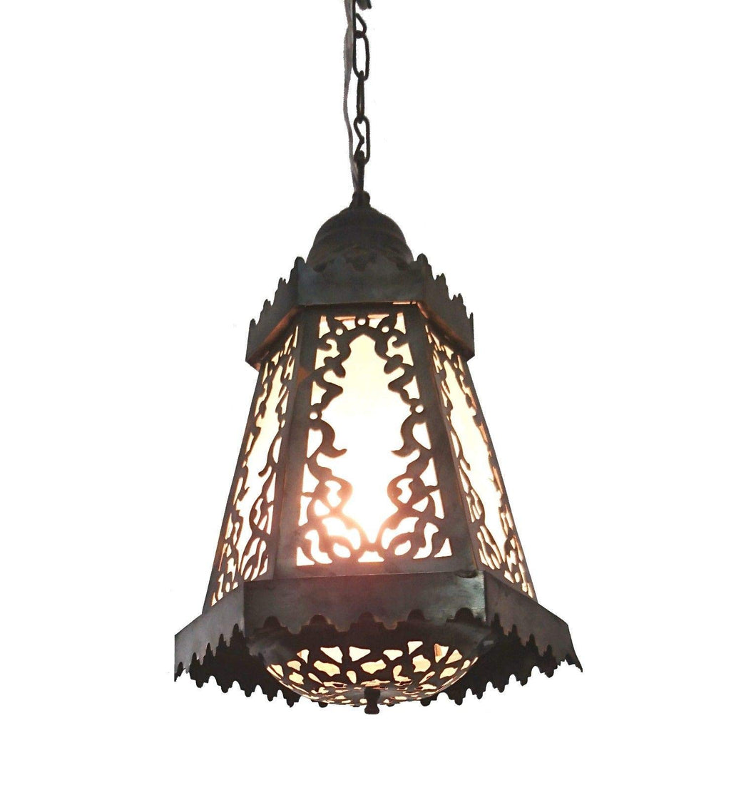 B138 Hexagonal Moroccan Pyramidal Lamp/Lantern with Frosted Glass