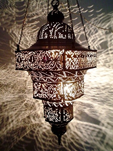BR124 Antique Moroccan Style Mosaic Hand-Engraved Large Hanging Lamp / Light