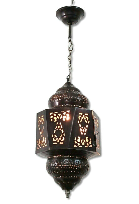 BR442 Moroccan/Egyptian Antique Style Handmade Tin Hanging LED Lamp/Lantern