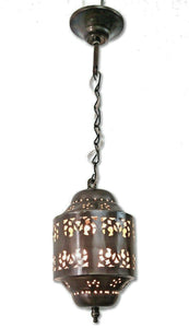 BR440 Moroccan/Egyptian Antique Style Cylinder Tin Hanging LED Lamp/Lantern