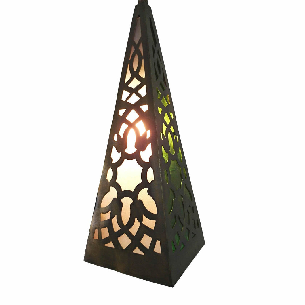 BR389 Square Moroccan Egyptian Pyramid Art Hanging/Table Lantern/Lamp