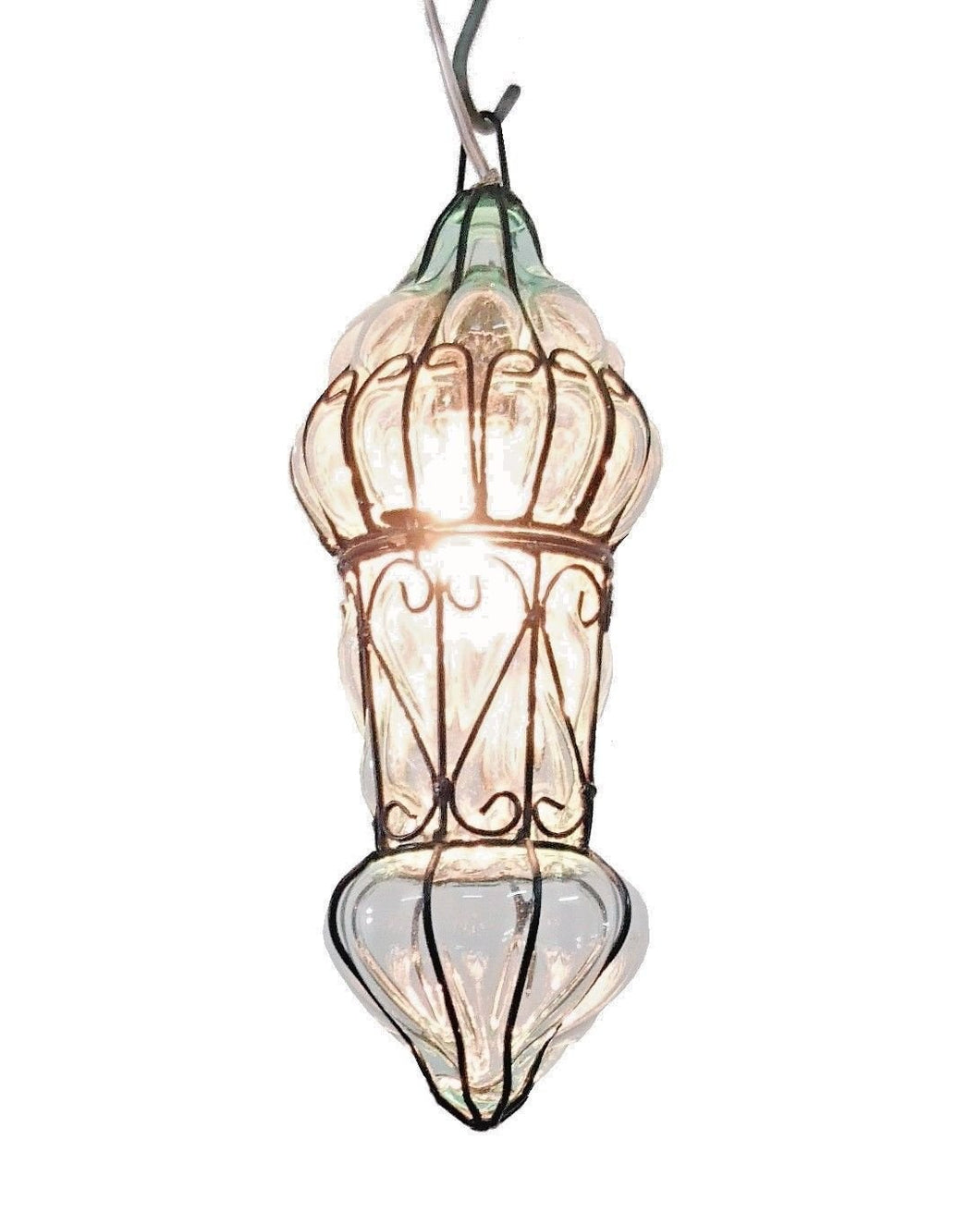 B48R Mouth-Blown Clear Glass Wrought Iron French Style Hanging Lamp