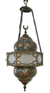 BR93W Vintage Reproduction Egyptian Hanging Brass Lamp/Lantern with White Glass