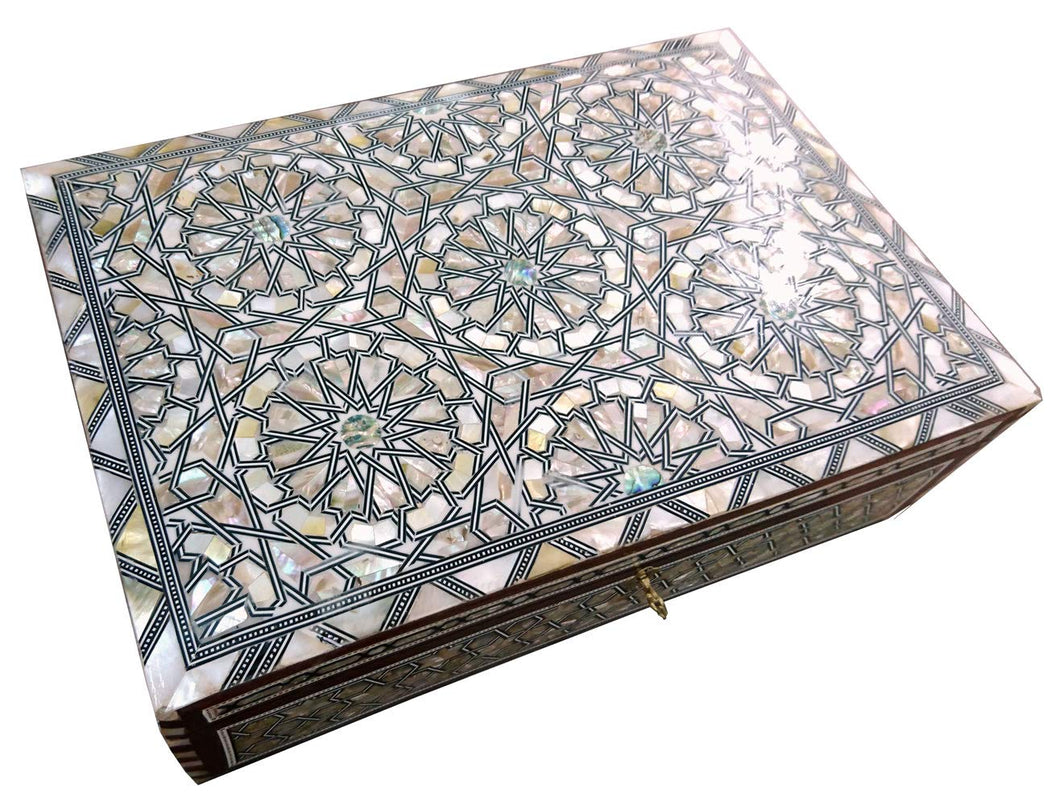 J80W XXL Mother of Pearl Mosaic Chest Egyptian Rectangular Jewelry Box