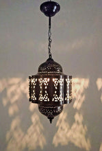 Load image into Gallery viewer, BR441 Moroccan/Egyptian Vintage Reproduction Tin Hanging LED Lamp/Lantern