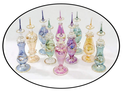 LW9 Pyrex Decorative Glass Egyptian Mouth-Blown Perfume Bottle LOT