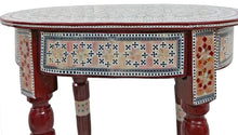 Load image into Gallery viewer, W153 Mother of Pearl Egyptian Corner Wood Oval Brown Table End Coffee