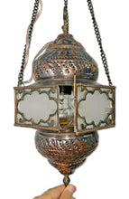 Load image into Gallery viewer, BR93W Vintage Reproduction Egyptian Hanging Brass Lamp/Lantern with White Glass
