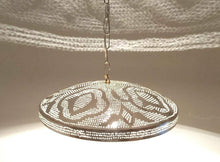 Load image into Gallery viewer, B294 Round Pie Tin Moroccan Silver Filigrain Lampshade LED Hanging Lamp