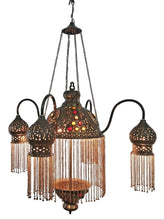Load image into Gallery viewer, BR264 4 Shades Moroccan Jeweled Pendant Light/Lamp Chandelier