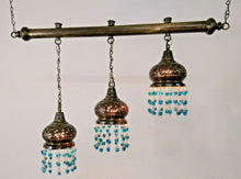 Load image into Gallery viewer, BR134 Three in One Stepped Lampshade on Monorail Chandelier with Aqua Blue Beads