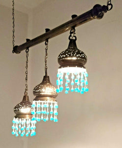 BR134 Three in One Stepped Lampshade on Monorail Chandelier with Aqua Blue Beads