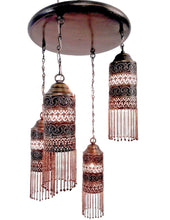 Load image into Gallery viewer, BR223 Antique Style Ceiling Fixture 4 Shades Moroccan Brass Chandelier