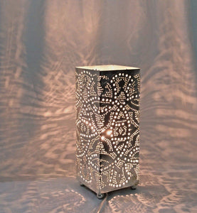 BM13 Handmade Silver Plated Tin Square Filigrain LED Table/Floor Lamp
