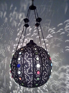 BR258 Vintage Handmade Jeweled Moroccan Large Brass Ball Hanging Lamp/Light