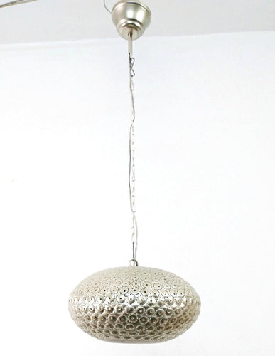 B260S Round Pie Tin Moroccan Silver Lampshade Hanging Lamp Peacock Tail Shadow