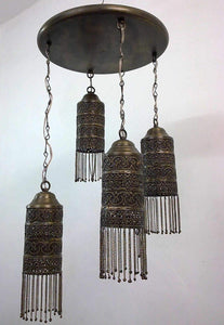 BR223 Antique Style Ceiling Fixture 4 Shades Moroccan Brass Chandelier
