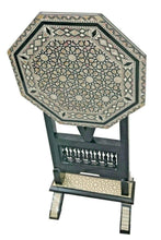 Load image into Gallery viewer, W113 Black Mother of Pearl Egyptian Folding Wood Octagonal End Coffee Table