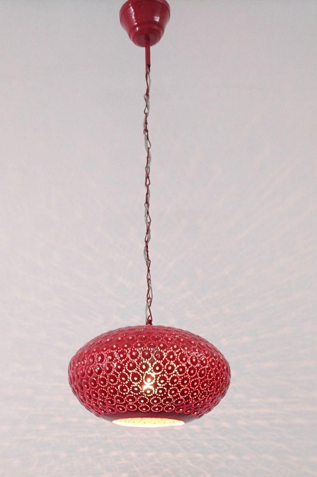 B260R Round Pie Tin Moroccan Red Lampshade Hanging Lamp Peacock Tail Shadow
