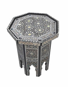 W103 Mother of Pearl Octagonal Corner Wood Table Arabesque End Coffee Trinket