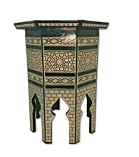 Load image into Gallery viewer, W112 Mother of Pearl Octagonal Corner Wood Table Arabesque End Coffee Trinket
