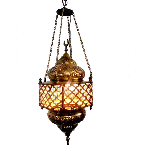 BR95M Beautiful Egyptian Polished Brass Net Light Lamp/Lantern