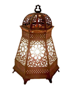 B157 Arabian Brass Hexagonal Table Lamp/Lantern with Frosted Glass Lining
