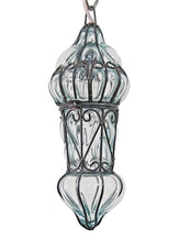 Load image into Gallery viewer, B48R Mouth-Blown Clear Glass Wrought Iron French Style Hanging Lamp